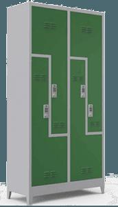 Personeliniz ve müşterileriniz için yüksek güvenliğe sahip konforlu elektronik kilitli Z tipi dört kapılı soyunma dolabı